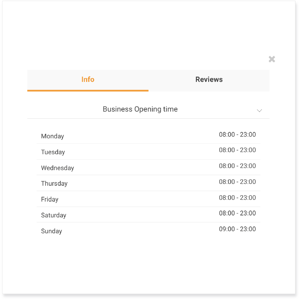 Business Opening Times | Ordering Online System