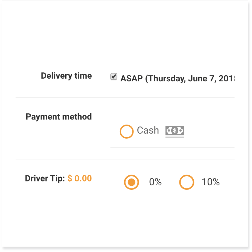 Time, Payment Method & Driver Tip | Ordering Online System