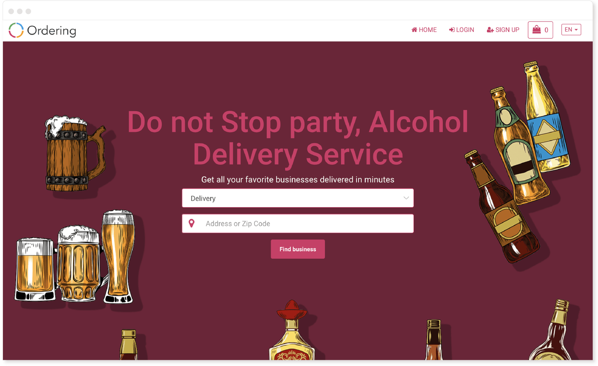 Alcohol vertical design in Ordering Online System