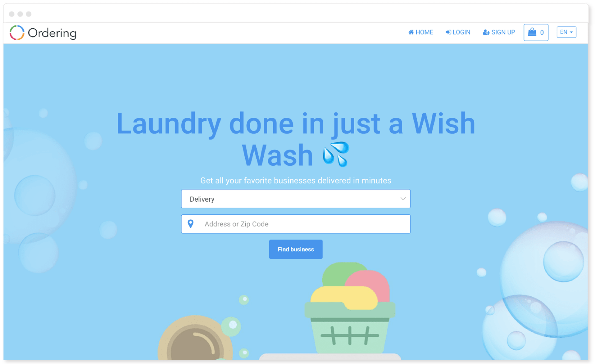 Laundry vertical design in Ordering Online System