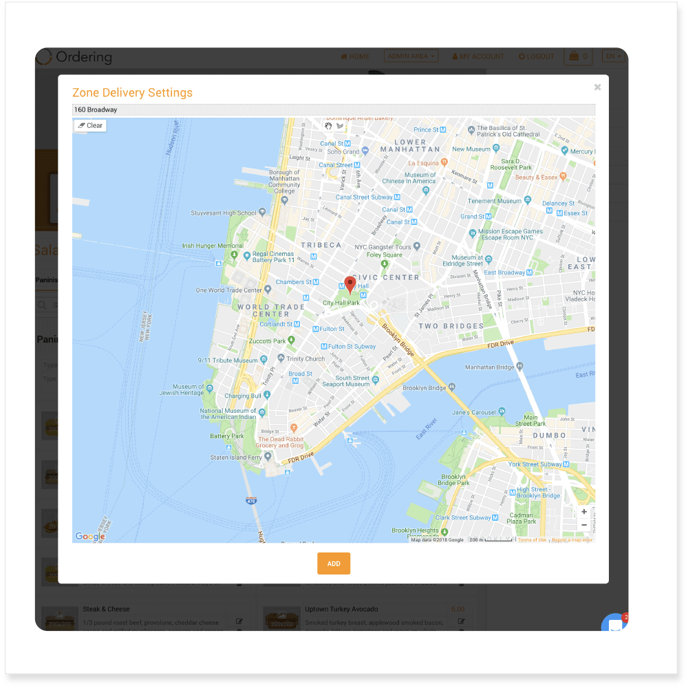 Ordering Editor - Online Store Map Location