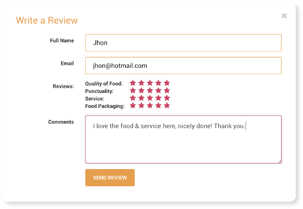Customer Reviews | Ordering Online System